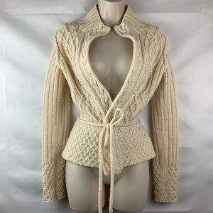 Banana Republic cream cable wrap belted sweater
